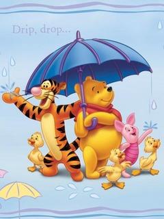 Винни Пух, Тигра да Пяточок спрятались через дождика перед зонтом